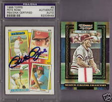 PETE ROSE PSA CERTIFIED AUTOGRAPH AUTO CARD + #d GAME USED PINSTRIPE JERSEY REDS
