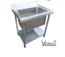 New Commercial Stainless Steel Catering Kitchen Sink Single Bowl Deep Pot Wash