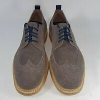 Johnston Murphy Men's Wingtip Shoes Gray Suede Leather Casual Dress 9M NEW