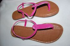 Womens Thong Sandals SHINY PINK Elastic in Ankle Strap 10 CASUAL Summer CUTE