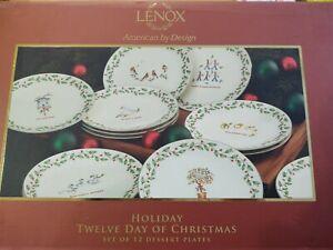 Lenox Twelve Days of Christmas Holiday Plates Dessert NIB