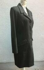Ladies Wool Coat 12 Pinstripe 40 Dark Grey Button Aine Lined Charcoal Designer