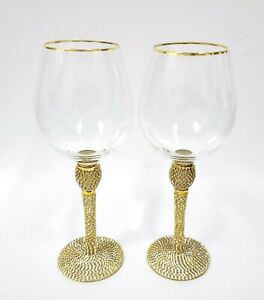 NEW 2 PC SET CLEAR,GOLD CRYSTALS BASE & STEM HANDMADE WINE GLASS,GOBLET,GLASS