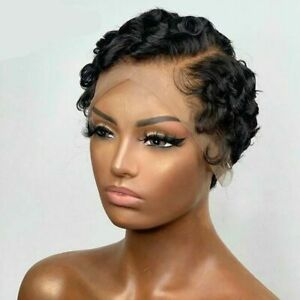6/8 Inch Deep Wave Lace Front Human Hair Wigs Short Curly Pixie Cut Wigs 150%