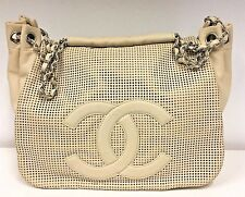 CHANEL Cream Caviar Leather Shoulder Bag w/ Perforated Flap & Silver Hardware