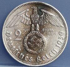 Deutsches Reich - 2 Mark 1939 J Hindenburg Swastika - KM# 93 - Silver.