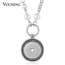 Pearl Necklace Vocheng Snap Jewelry Round Pendant Fit 18mm Button NN-524