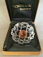 Vintage Carrick Silver Tone Celtic Scottish Brooch Pendant Citrine Glass & Box
