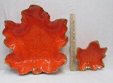 California Pottery Maple Leaf Bowls Bright Orange Gold LG & SM Vintage Set 2