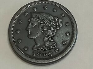 1846. Braided Hair Half Cent. Copper **Free Shipping **