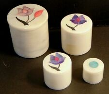 Set of 4 Soapstone Nesting Trinket Boxes w Inlaid Mother of Pearl Flowers India