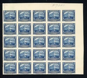 Nicaragua Specialized: MAXWELL #640 25c Post Office PLATE PROOF BLOCK 25 RRR $$$