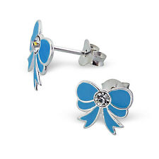 Children's Kids Girls 925 Sterling Silver Bow Ear Studs with crystal-Gift Box