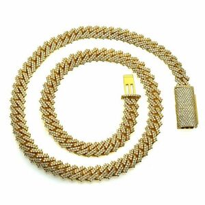 14K Yellow Gold Cuban Link Pave Diamonds Unisex Necklace 15.66cttw