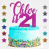 Personalised Happy 21st Birthday Glitter Custom Cake Topper Any Age  18 30 40