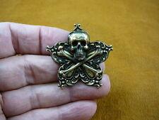 (#B-SKULL-16)  Skull cross crossbones Pin pirate lover SALTY SEA DOG brooch