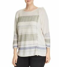 Nic+Zoe Womens Sweater White Ivory Size 3X Plus Fringe Juniper Pullover $178 225