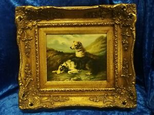 OIL PAINTING OF TWO DOGS IN GOLD ORNATE FRAME UNSIGNED.
