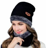 Winter Baggy Slouchy Knitted Warm Beanie Hat and Scarf Ski Skull Cap Mens Womens