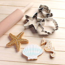 3x Stainless steel shell &starfish hippocampus Ocean cake cu series cookies S6X5