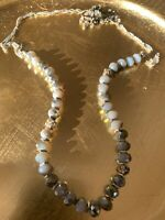 """19"""" VINTAGE BEADED NECKLACE W/ IRIDESCENT AGATE & RHINESTONE BEADS SILVER TONE"""
