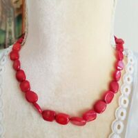 Red Bamboo Coral Bead 925 Sterling Silver Necklace