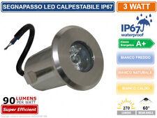 FARETTO SEGNAPASSO PUNTO LUCE LED CALPESTABILE DA INCASSO INTERRAMENTO 3W IP67
