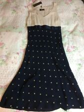 Fenn Wright Manson Silk Polka Dot Crepe Dress-size 8. Navy/oyster