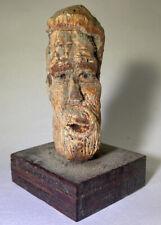 Hand Carved Folk Art Bust Mans Face RARE Unusual Single Unique Artwork