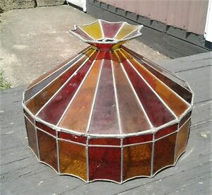 Vintage Tiffany Style Stained Glass Pendant Ceiling Lamp Shade Red, Yellow Amber