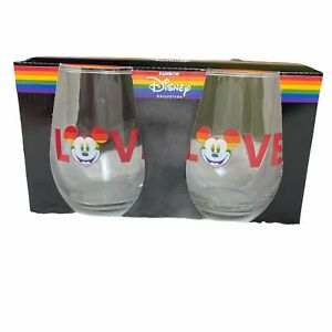Set of 2 Disney Rainbow Collection Pride Mickey Mouse Tear Drop Wine Glass 20 Oz