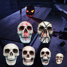 Plastic Human Skull Props Skeleton Head Statue Figurine Ornament Halloween