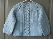 Handmade knitted baby boy light blue seamless long sleeved cardigan 18-24 months
