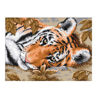 Stamped Animal Tiger Embroidery Counted Cross Stitch Kit for Children Kids