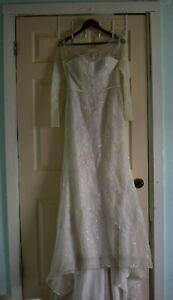 Oleg Cassini Wedding Dress Vintage Modest Champaign Size 8 Pre-Owned