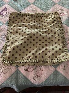 """Set of Custom Made Pillow Shams Green & Polka Dots 19"""" Square"""