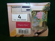 Corning / Corelle ~ Elegant Rose ~ Set Of 4 Juice 7 Oz. Glasses  **New In Box**