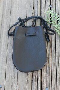 Black leather drawstring pouch , Black leather medicine bag , Crystal bag