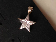 Unique Sterling Clear Crystal Faceted Stone Star Pendant 925