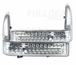 CHROME w/ CLEAR LED SIGNAL BUMPER LIGHTS SET FOR FORD F250 F350 SUPERDUTY 99-04