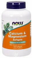 Now Foods Calcium & Magnesium plus Vitamin D and Zinc, 120 Softgels BONE HEALTH
