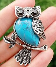 Blue Turquoise stone bead Energy Reiki Healing Amulet Owl Pendant