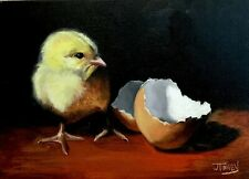 "Original Oil Painting Artist J. Toney Baby Chick Chicken 5""x7"" Farm"