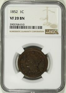 1852 NGC VF 20 BN Coronet Head Large Cent ☆☆ Great For Sets ☆☆ 010