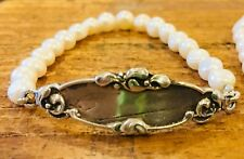 French Art Nouveau Baby Bracelet, antique repro, freshwater pearls, heirloom 925