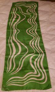 "Vera Neumann Designer 100% Silk Scarf Long Vintage 44"" x 15"" Green Ivory/White"