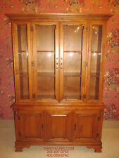 "Tell City Crown Bubble Glass 48"" China Hutch Hard Rock Maple 8372 Andover Finish"