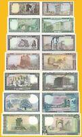 Lebanon Set 1, 5, 10, 25, 50, 100, 250 Lira p-61 - 67 1980-1988 UNC Banknote