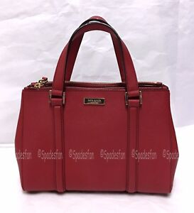 Kate Spade WKRU2462 Newbury Lane Small Loden Satchel Bag PILLBOX RED NWT