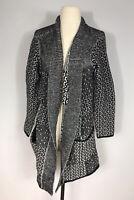 J. Jill Black and White Geometric Print Wool Blend Chunky Knit Sweater Women's S